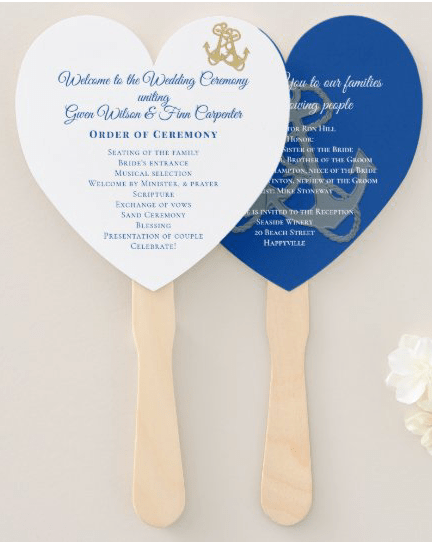 Nautical wedding program fan heart gold anchors navy blue
