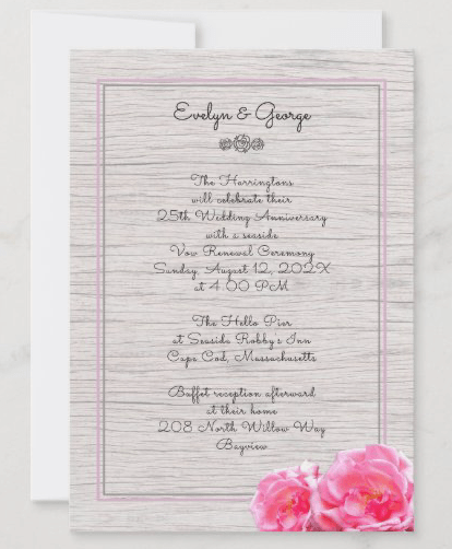 Beach rose renewing vows ceremony invitation wood pink floral