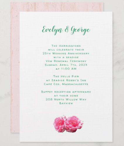Spring roses white vow renewal wedding anniversary invitation