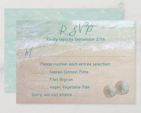 menu rsvp beach wedding enclosure sand dollars