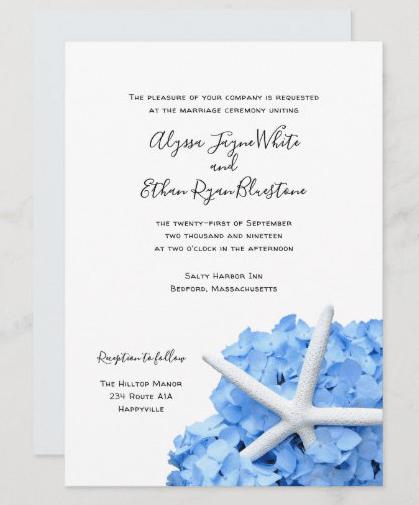 Seaside Garden starfish blue wedding invitation couple inviting