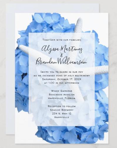starfish wedding blue hydrangea invitation together with parents