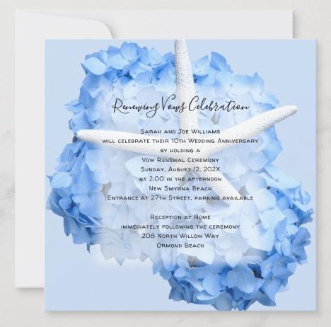 renewing vows invitation anniversary blue hydrangea starfish seaside garden