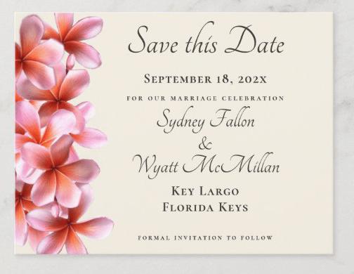 Plumeria save-the-date postcard Hawaiian flowers wedding announcement