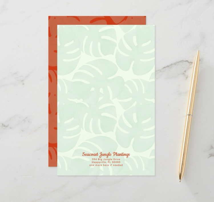 tropical leaves blank writing paper text templates at bottom