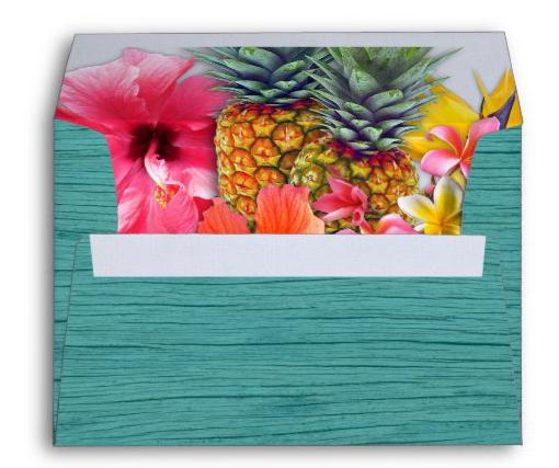 Hawaiian flowers wood look envelope