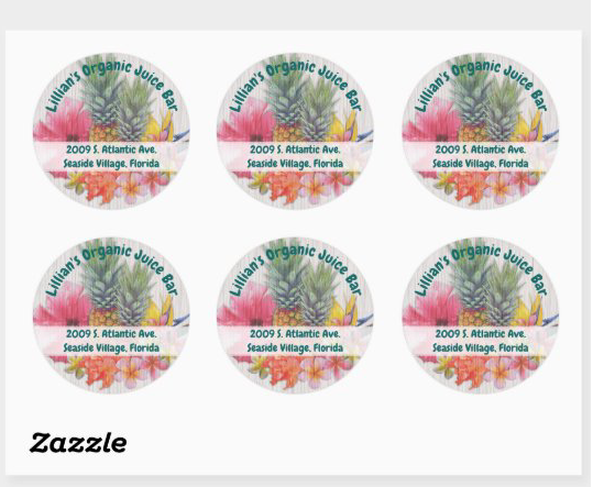 Hawaiian flowers round square address stickers personal or business