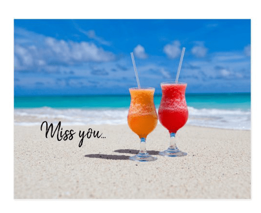 two drinks in sand postcard paradise custom text