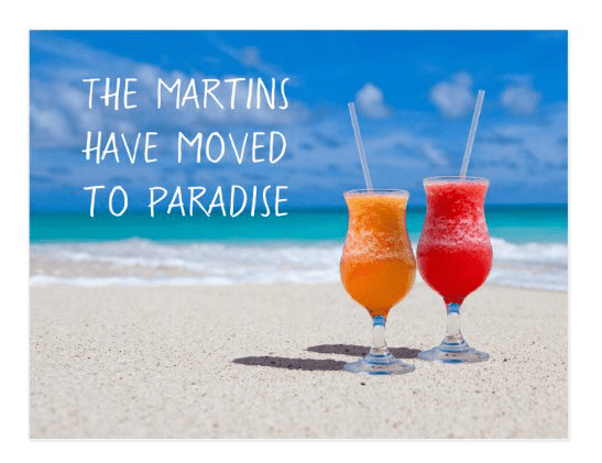 Drinks on beach tropical living new address moving postcard