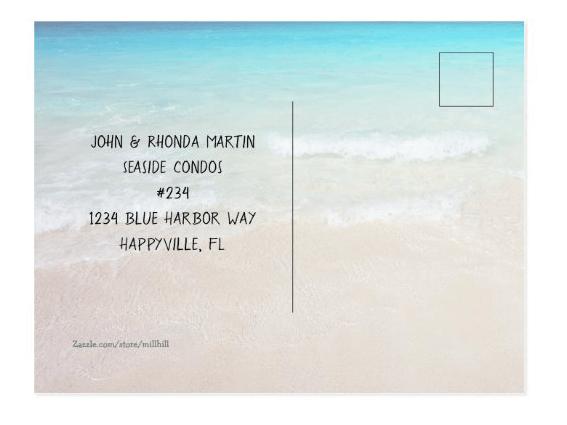 postcard new address and beach scene
