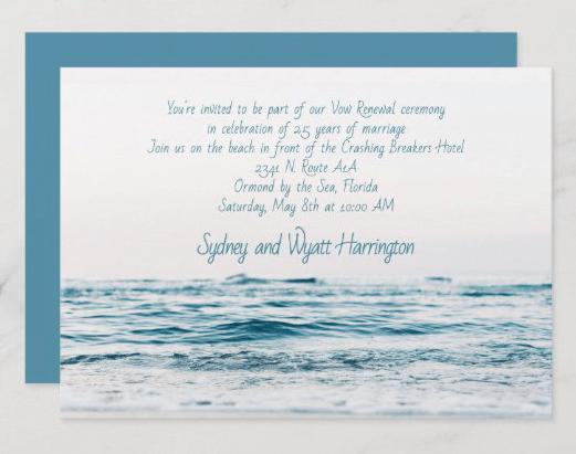 Vow renewal ceremony invitation blue ocean