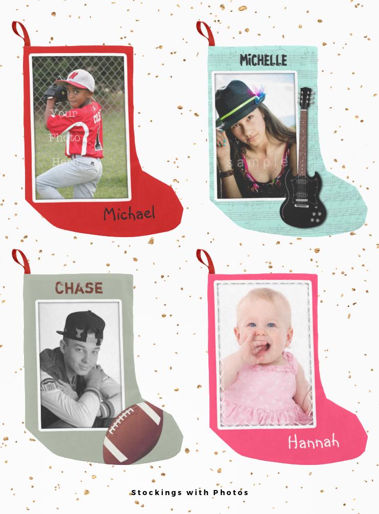 Christmas stockings with photo templates