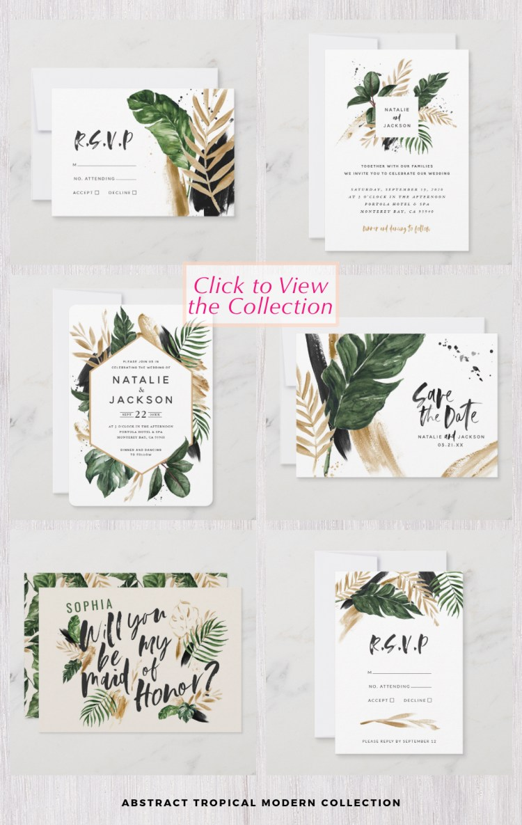 Abstract tropical wedding watercolor leaves design modern stationery