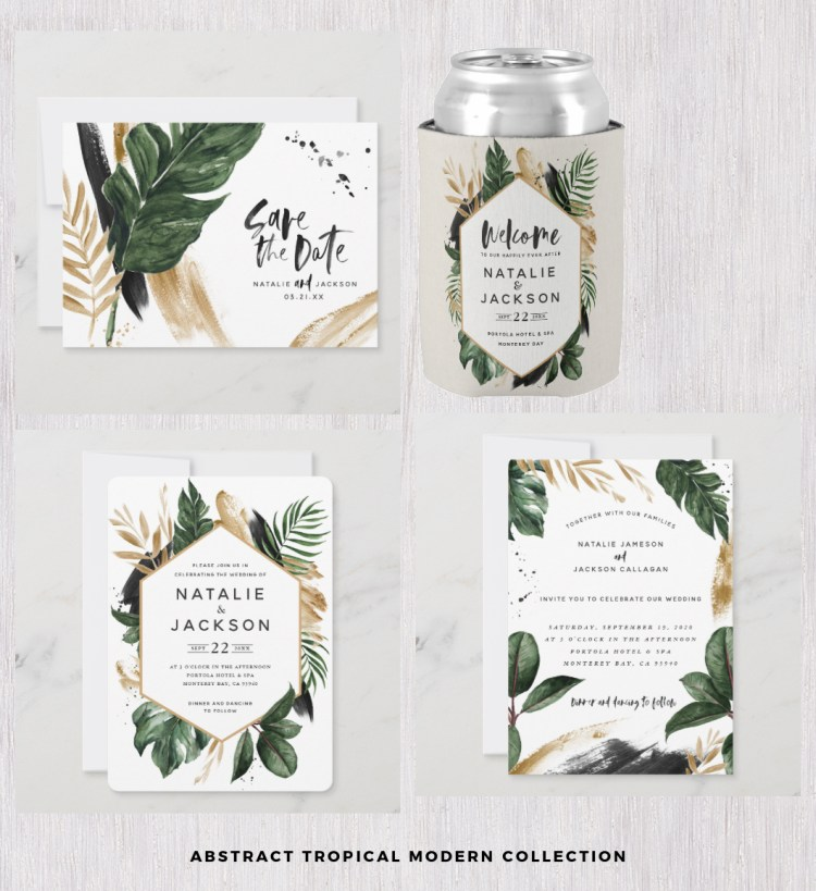 abstract tropical wedding stationery set leaves modern