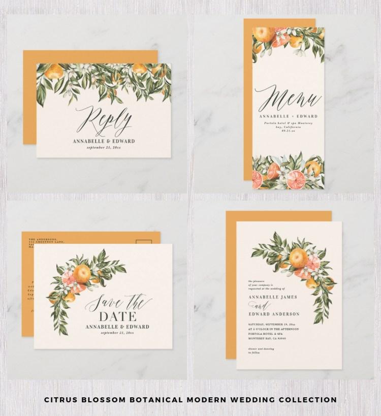 citrus blossom wedding set