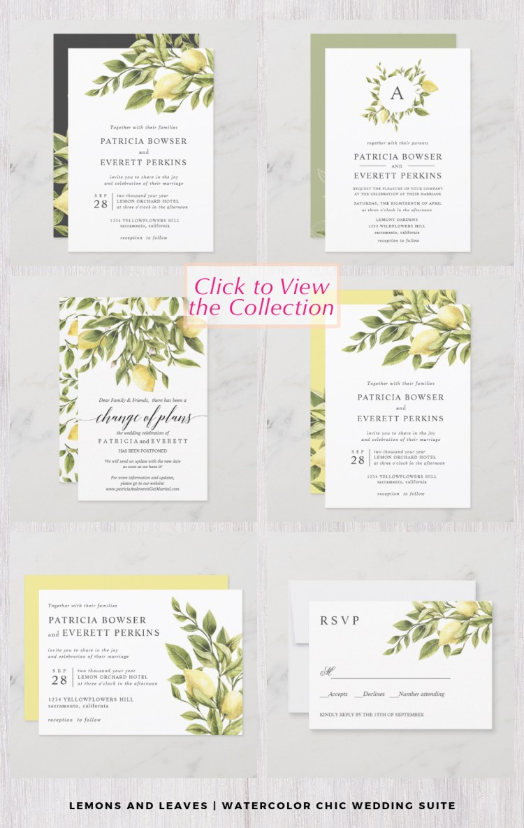 lemons and leaves wedding citrus design tropical stationery set with hand-painted watercolor designs in sage green and pale yellow.