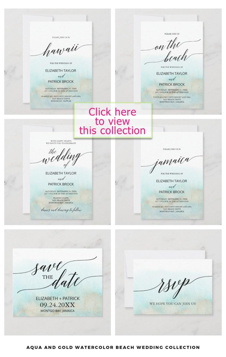 minimalist aqua beach wedding stationery set