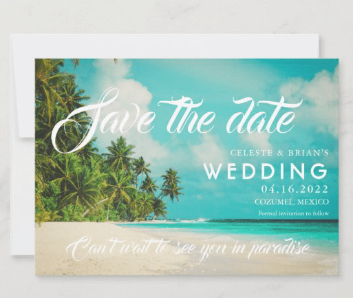Paradise save the date postcards tropical water aqua blue