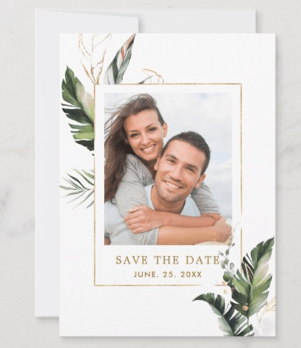 Foliage photo save the date tropical wedding announcement