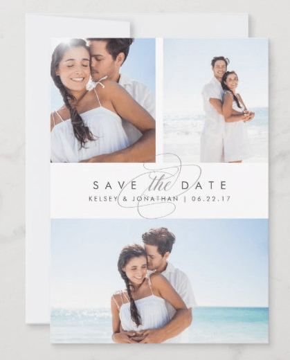 simply elegant save the date multi-photo flat cards