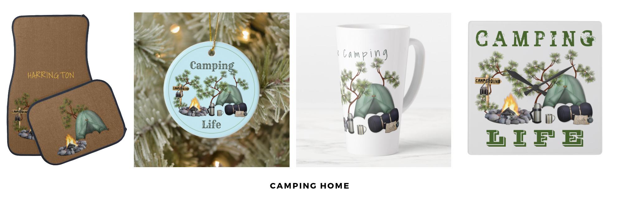 Tent camping, home goods, tree ornament, car floor mats,