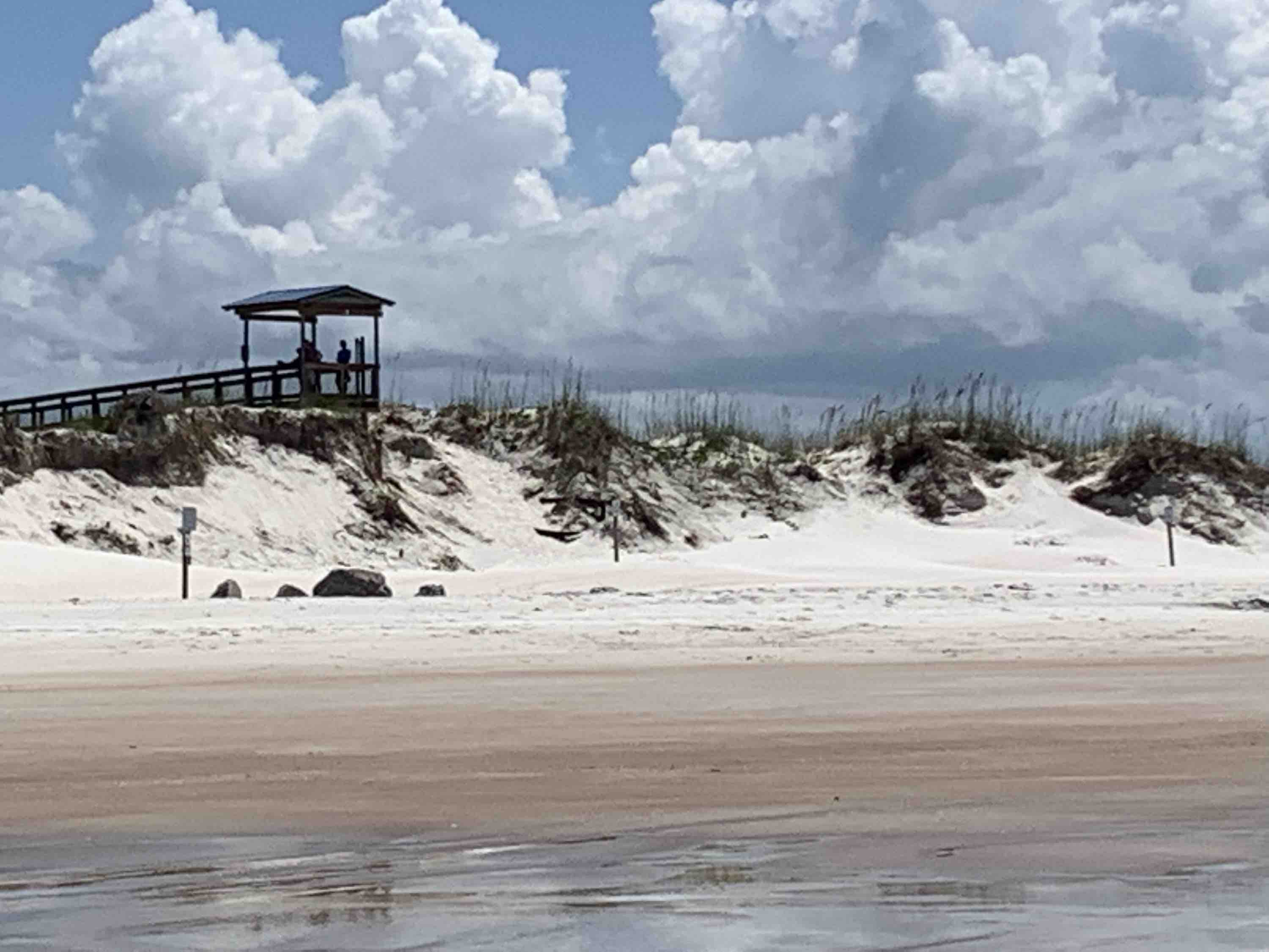 Smyrna Dunes Park from Ponce Inlet showing stairway removed
