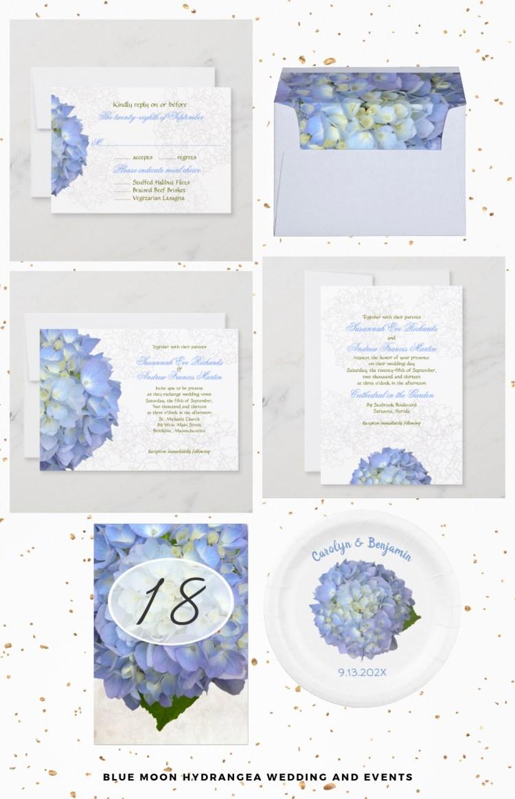 light blue hydrangea flowers wedding invitations and stationery set