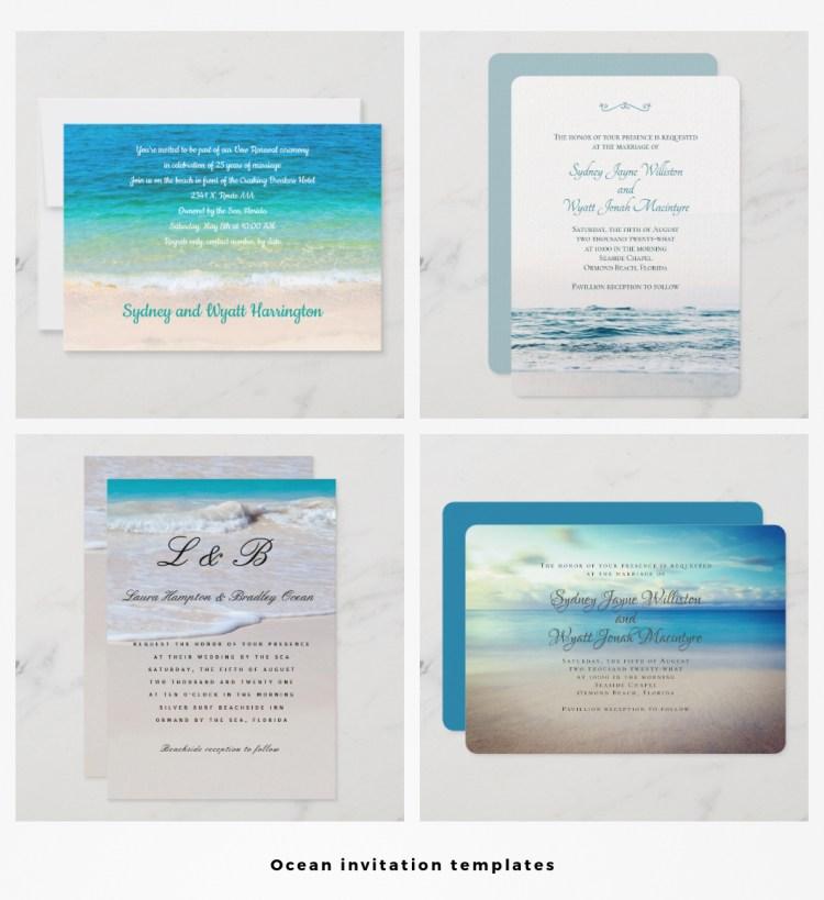 ocean wedding invitation templates