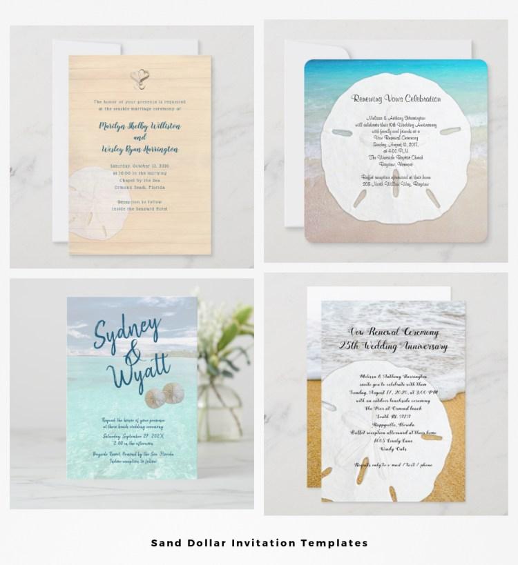 wedding invitations with sand dollars