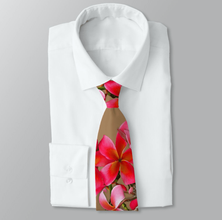 pink plumeria neck tie tan brown