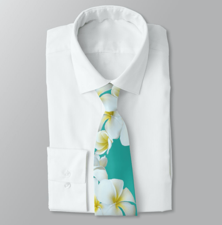 White plumeria flowers neck tie on teal blue green