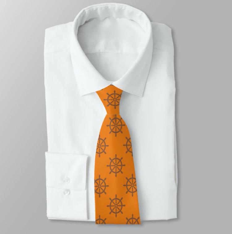 Orange nautical tie ships wheel pattern