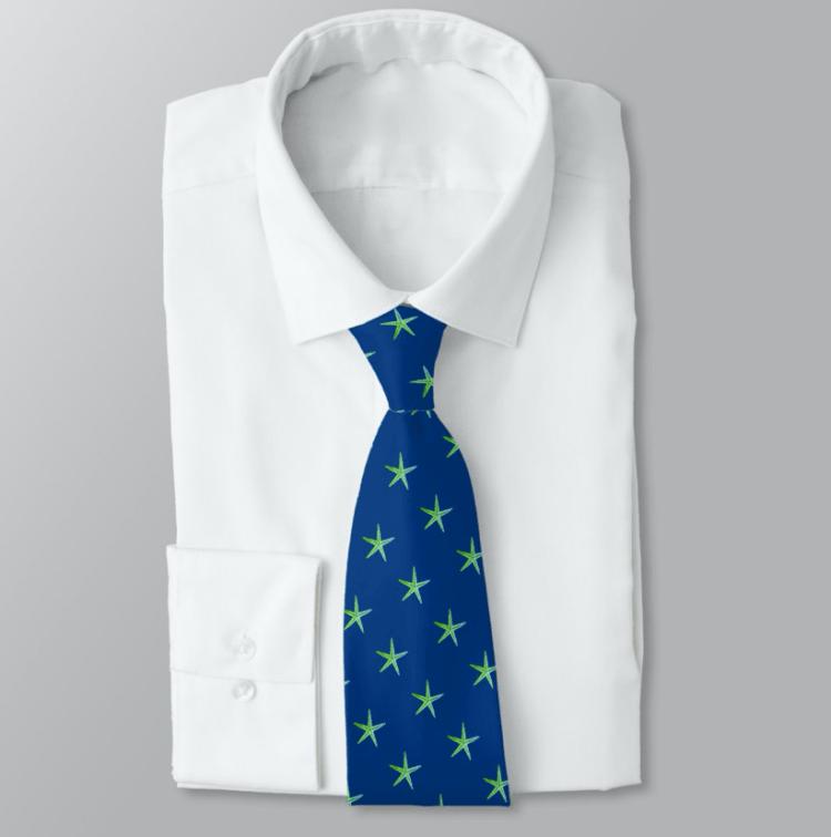 Navy blue tie with tiny green sea stars pattern