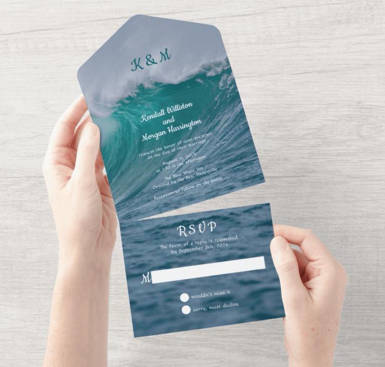 big wave wedding invitation