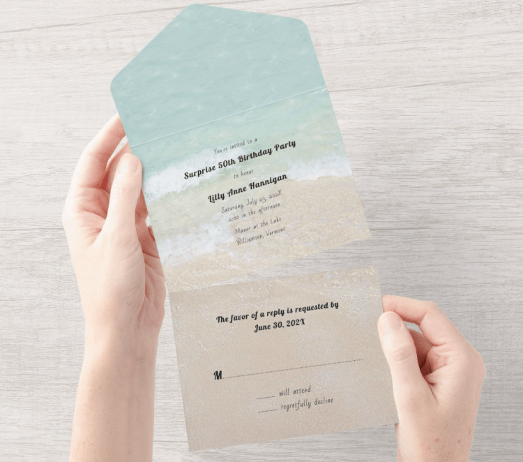 beach birthday party invitation all in one