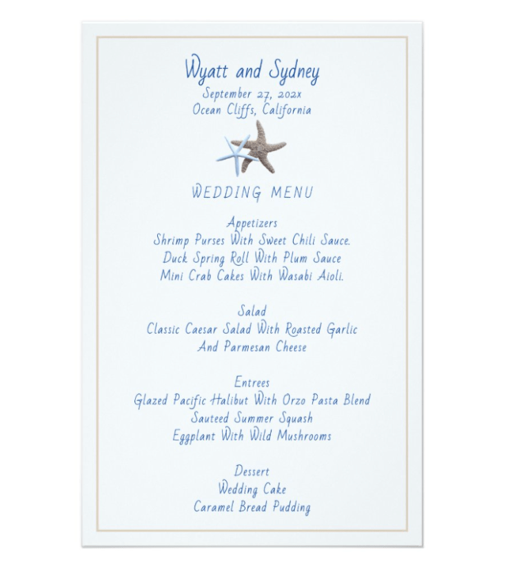 Starfish couple menu template for weddings and showers.