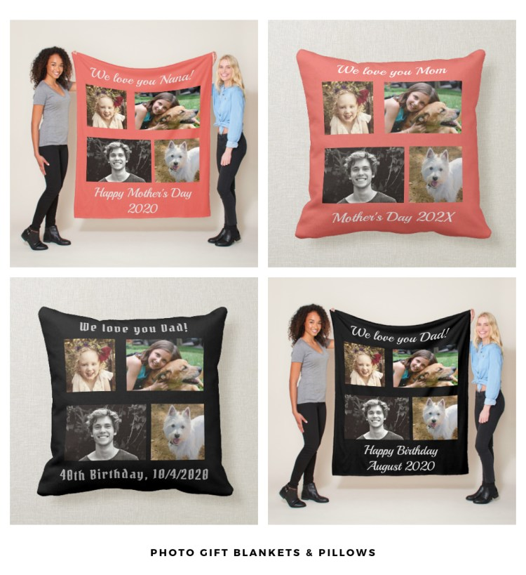 blankets and pillows with photo and text
