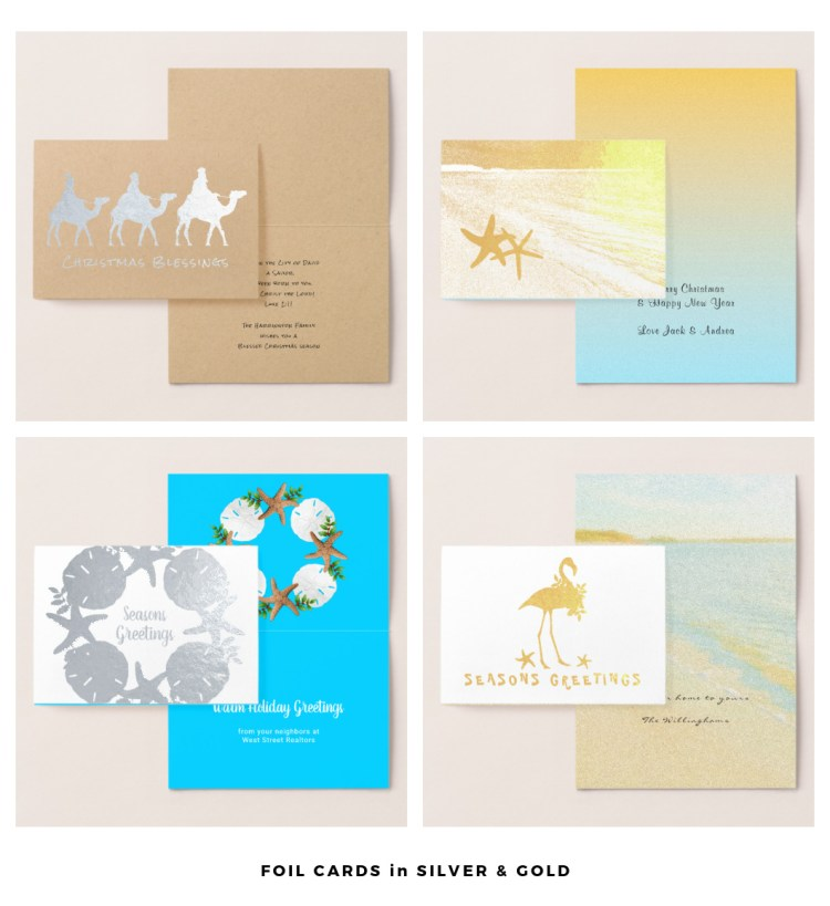 Foil Christmas cards silver gold