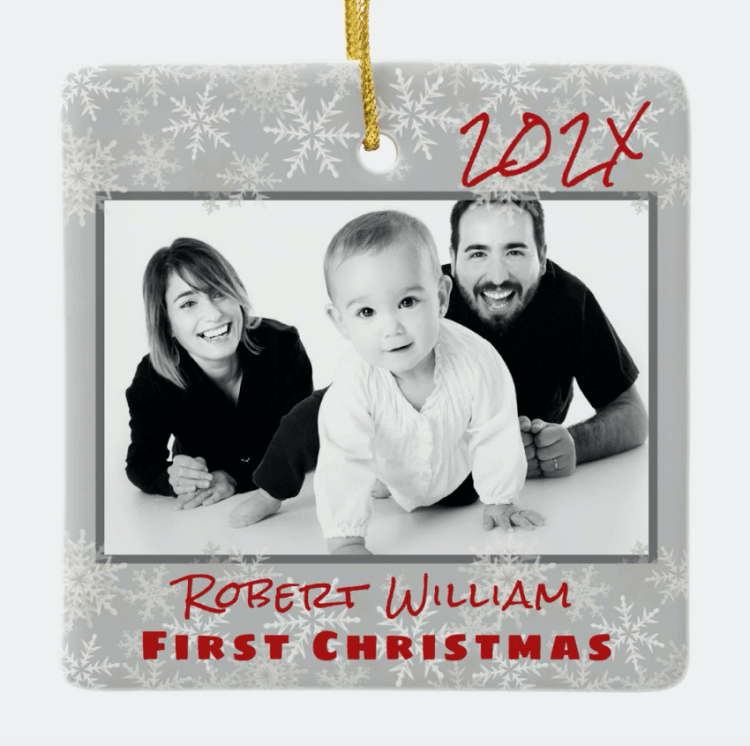 New baby at Christmas ornament with photo and text.  Customize both sides, gray snowflakes and red text.