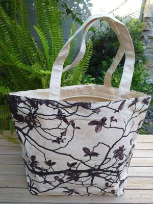 ALT822R Large Zipper Tote Natural Photos Silk Screen