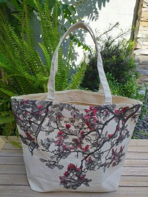 ALT895R Large Zipper Tote Natural Photos Silk Screen
