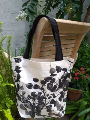 ATT637 Light Canvas Silk Screen Tote Nylon Strap