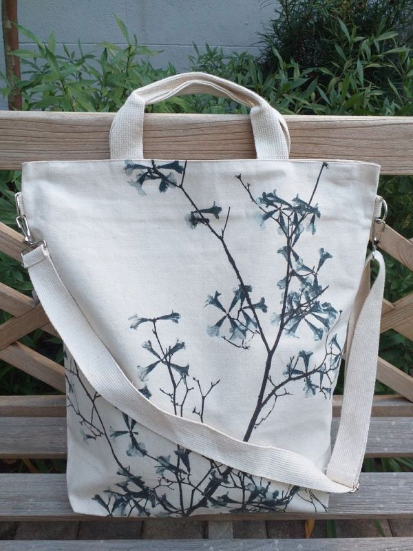 AXT857B Cotton Canvas Silk Screen Cross Body Tote