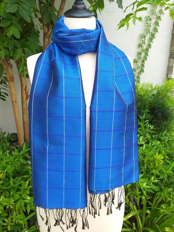 CKS562b Thai 100 Silk Hand Woven Colorful Shawl