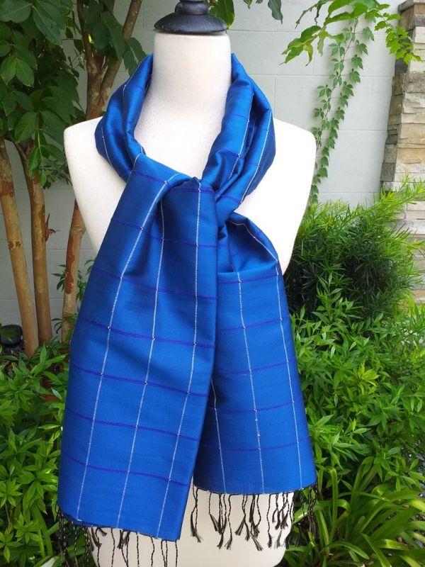 CKS562c Thai 100 Silk Hand Woven Colorful Shawl