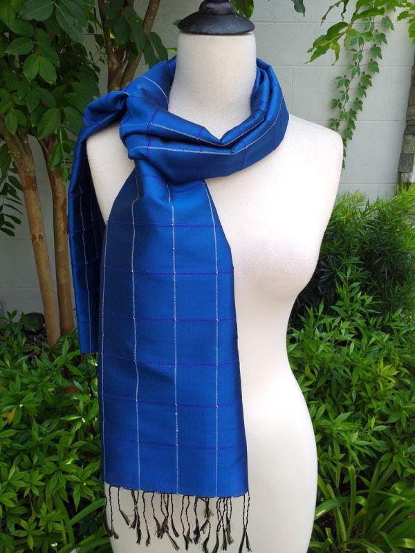 CKS562d Thai 100 Silk Hand Woven Colorful Shawl
