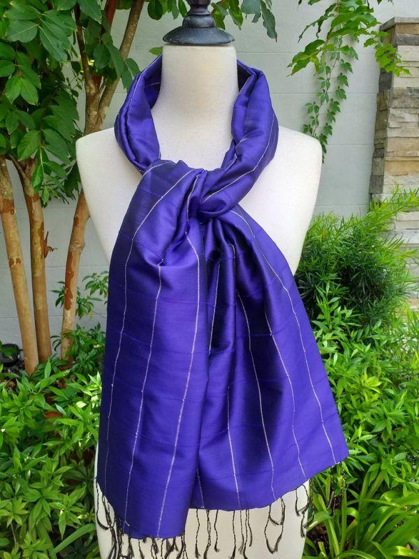 CKS563c Thai 100 Silk Hand Woven Colorful Shawl