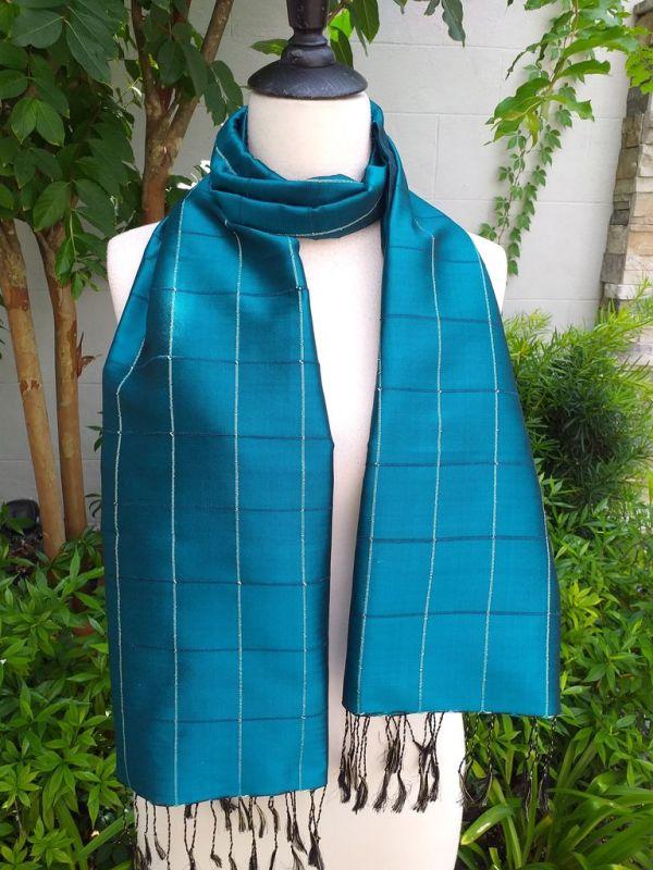 CKS565b Thai 100 Silk Hand Woven Colorful Shawl