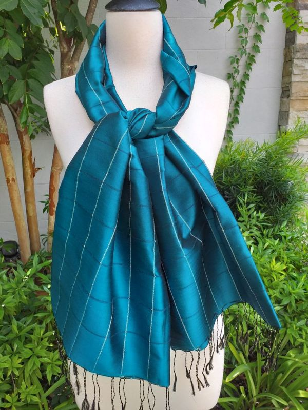 CKS565c Thai 100 Silk Hand Woven Colorful Shawl