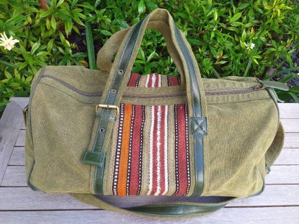 GBD957 Cotton Canvas Duffle Bag Leather Trim
